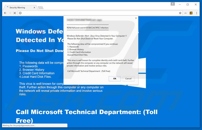 Windows Defender Alert fake error