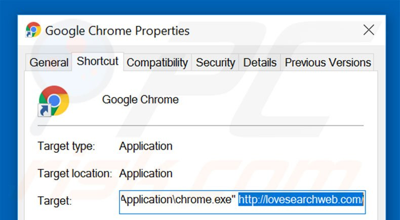 Removing lovesearchweb.com from Google Chrome shortcut target step 2