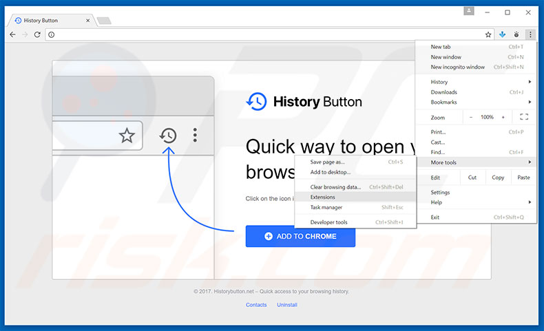 Removing History Button  ads from Google Chrome step 1