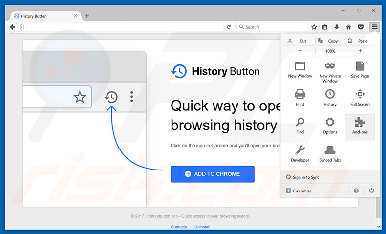 Removing History Button ads from Mozilla Firefox step 1