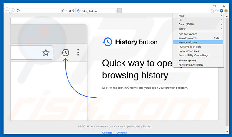 Removing History Button ads from Internet Explorer step 1