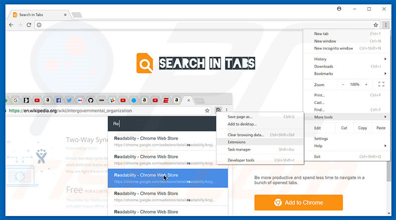 Removing Search In Tabs  ads from Google Chrome step 1