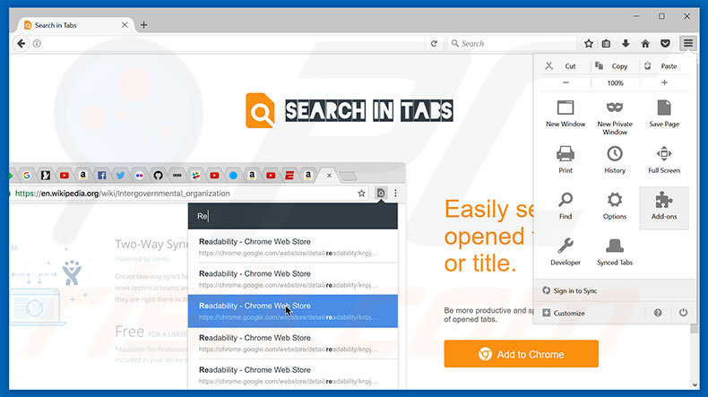 Removing Search In Tabs ads from Mozilla Firefox step 1