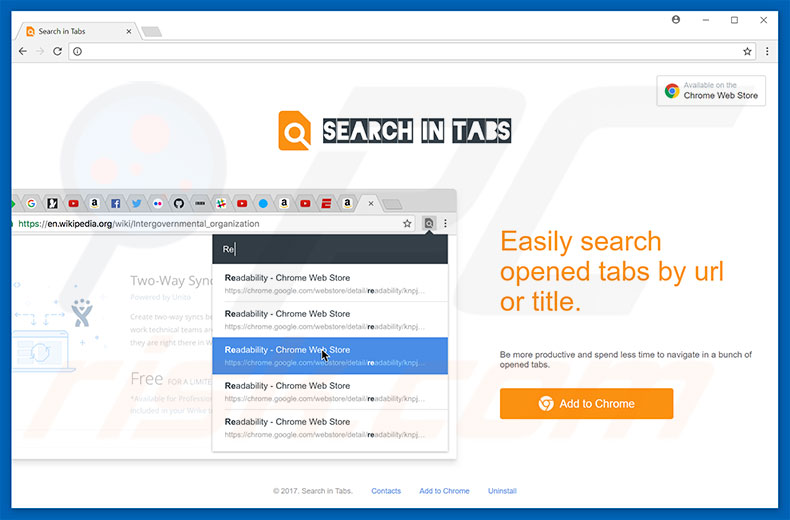Search In Tabs adware