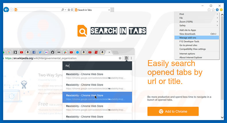 Removing Search In Tabs ads from Internet Explorer step 1