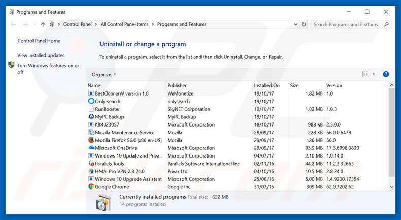Microsoft Security Alert adware uninstall via Control Panel
