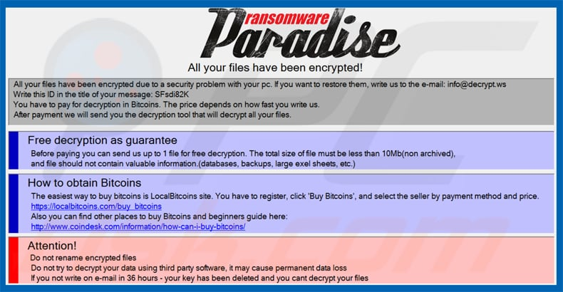 paradise ransomware pop-up message