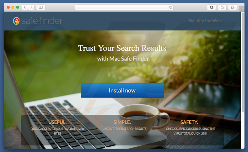 Dubious website used to promote search.macsafefinder.com