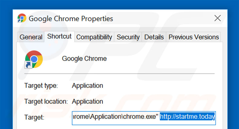 Removing startme.today from Google Chrome shortcut target step 2