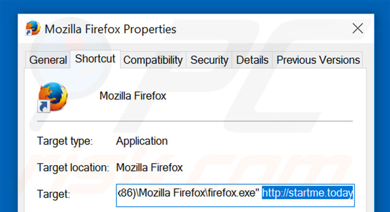 Removing startme.today from Mozilla Firefox shortcut target step 2