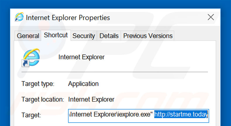 Removing startme.today from Internet Explorer shortcut target step 2