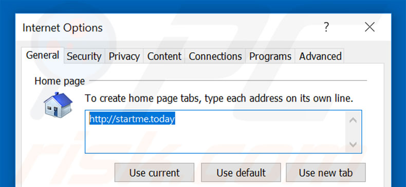 Removing startme.today from Internet Explorer homepage