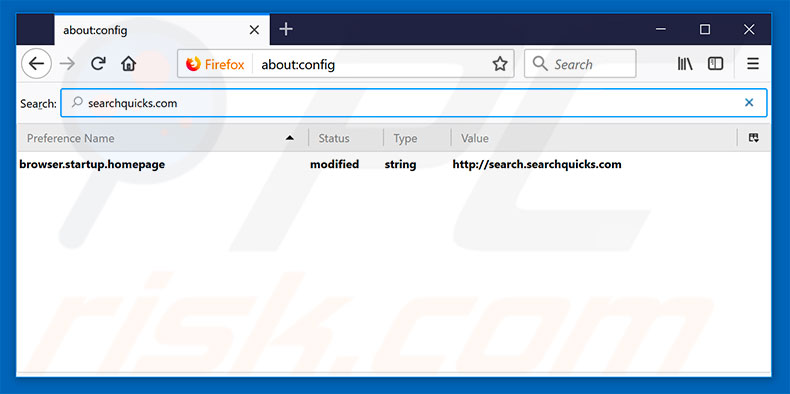 Removing search.searchquicks.com from Mozilla Firefox default search engine