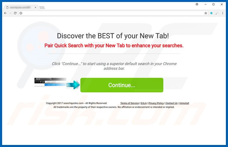 Website used to promote Quick Search browser hijacker