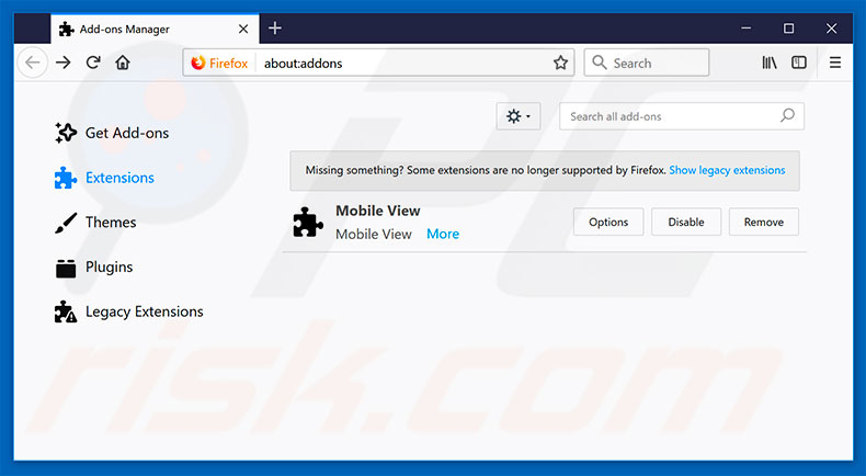 Removing Call Microsoft Support ads from Mozilla Firefox step 2