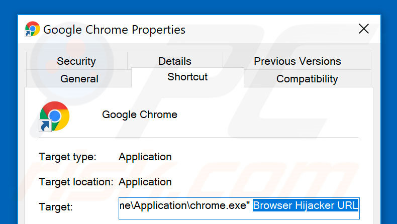 Removing browser hijacker from Google Chrome shortcut target step 2