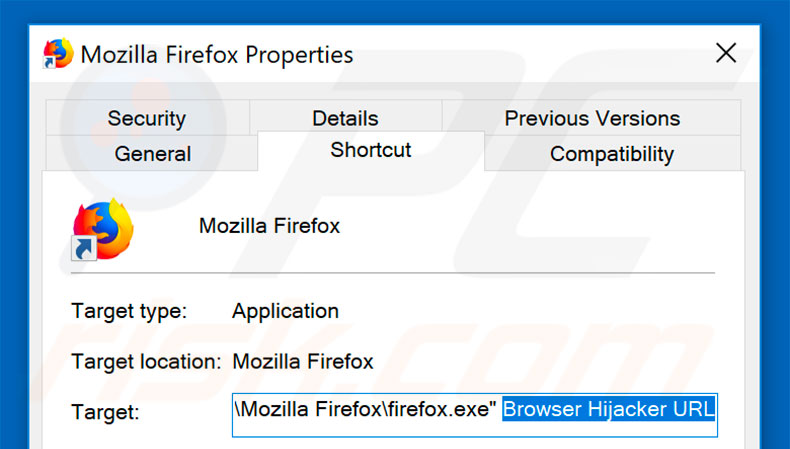 Removing browser hijacker from Mozilla Firefox shortcut target step 2
