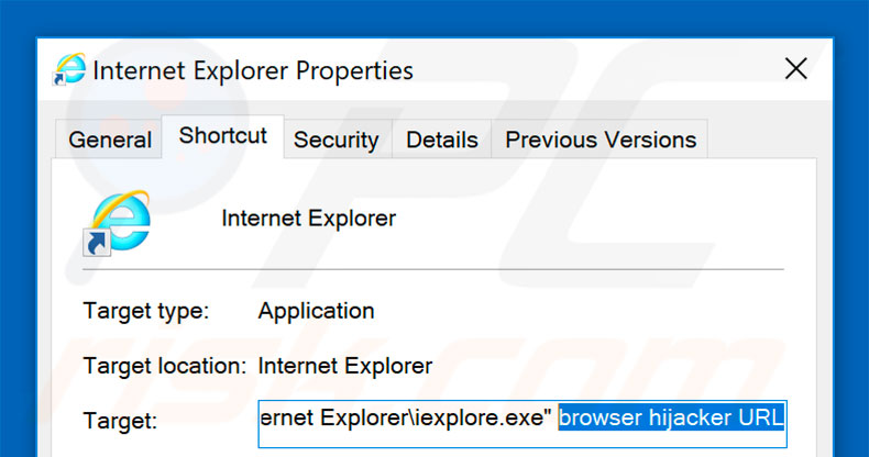 Removing browser hijacker from Internet Explorer shortcut target step 2
