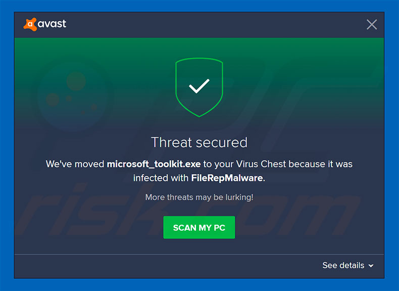FileRepMalware removed by Avast anti-virus
