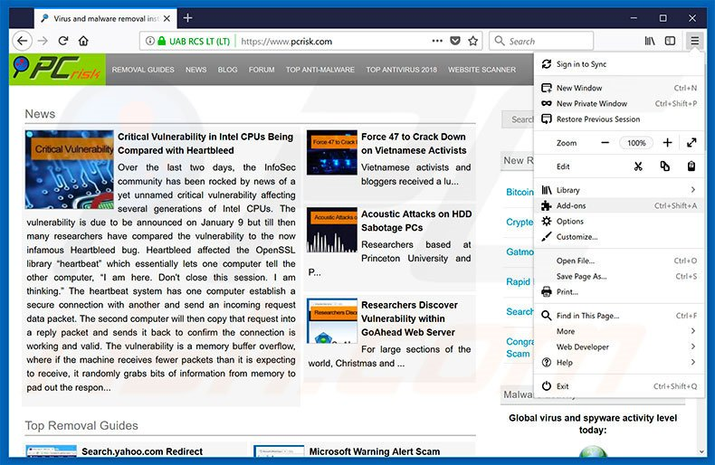 Removing KMSPico ads from Mozilla Firefox step 1