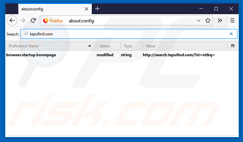 Removing search.tapufind.com from Mozilla Firefox default search engine