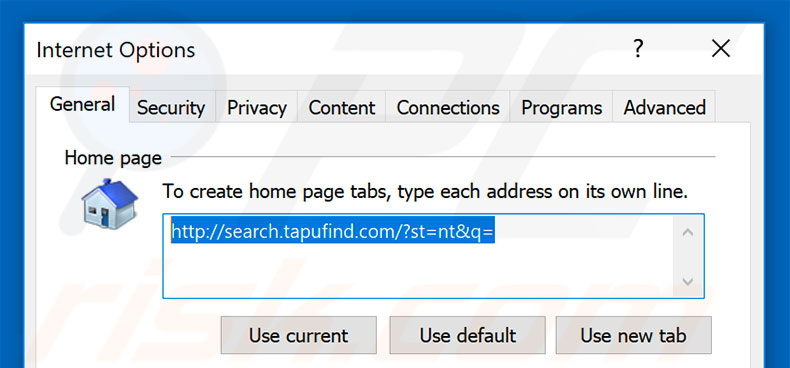 Removing search.tapufind.com from Internet Explorer homepage
