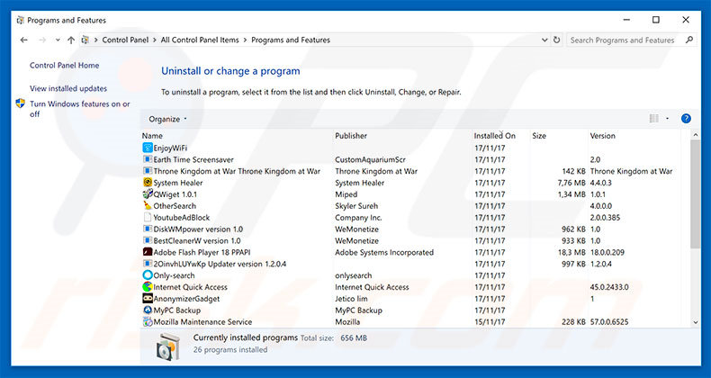search.tapufind.com browser hijacker uninstall via Control Panel