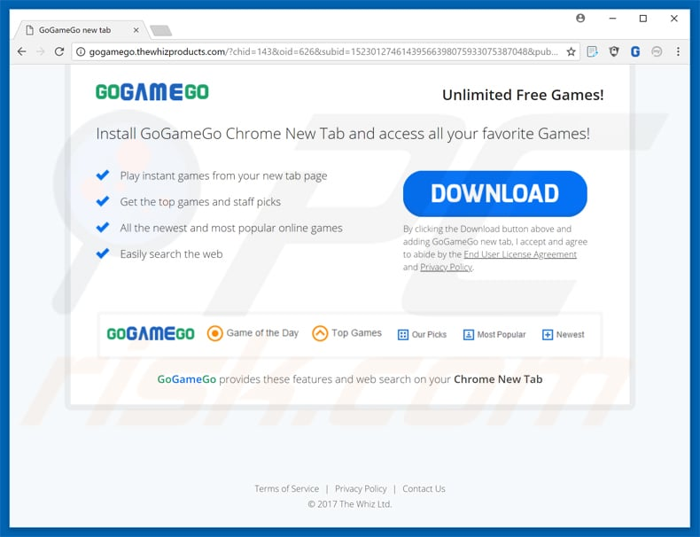 gogamego toolbar promoting pop-up ad sample 2