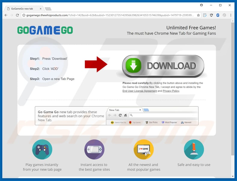 gogamego toolbar promoting pop-up ad sample 3