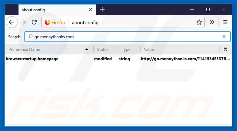 Removing go.mennythanks.com from Mozilla Firefox default search engine