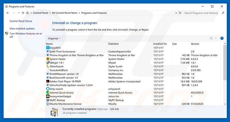 System Support Alert adware uninstall via Control Panel