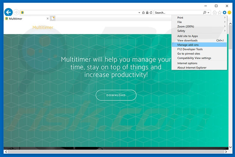 Removing Multitimer ads from Internet Explorer step 1