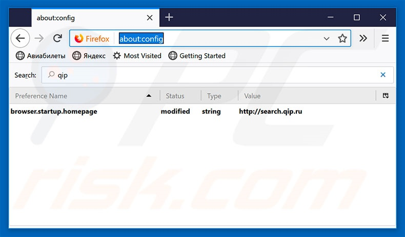 Removing qip.ru from Mozilla Firefox default search engine