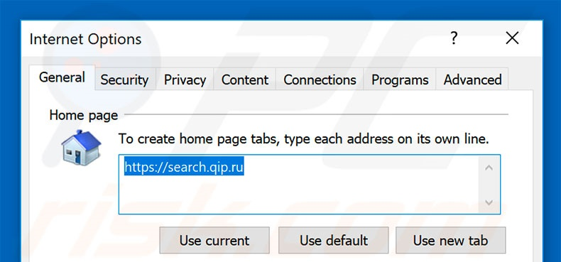 Removing qip.ru from Internet Explorer homepage