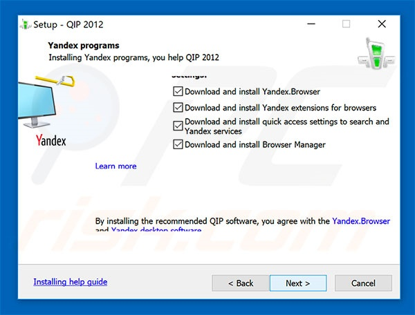 Official QIP Surf browser hijacker installation setup
