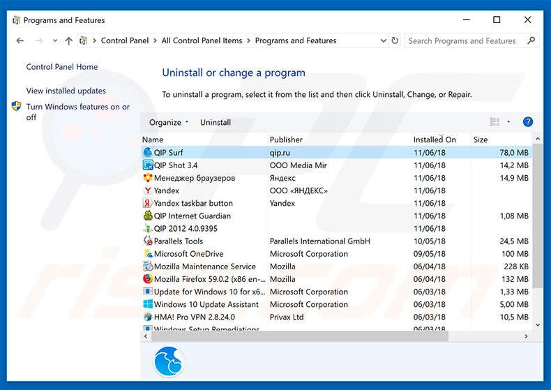 qip.ru browser hijacker uninstall via Control Panel