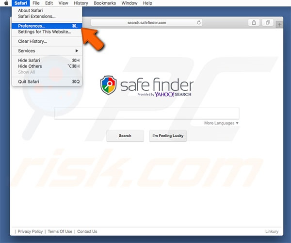 Safe Finder Safari Options Step 1