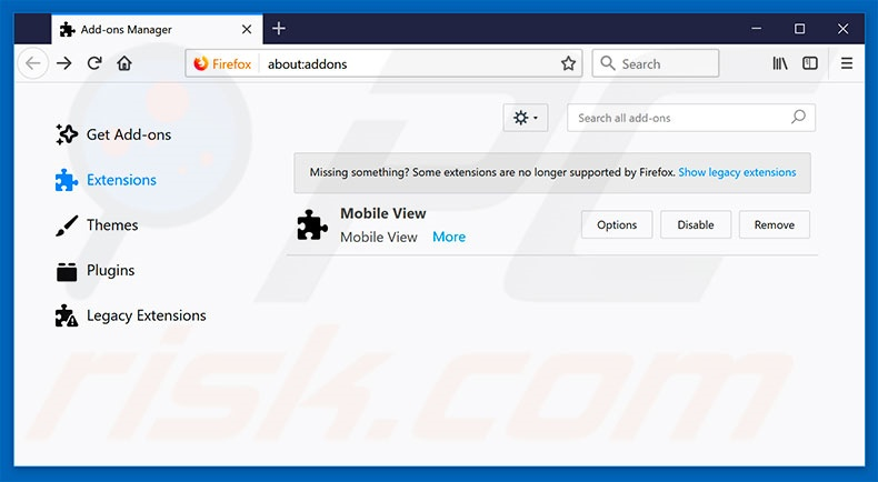 Removing SearchAwesome ads from Mozilla Firefox step 2