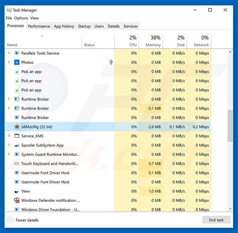AZORult malware in task manager
