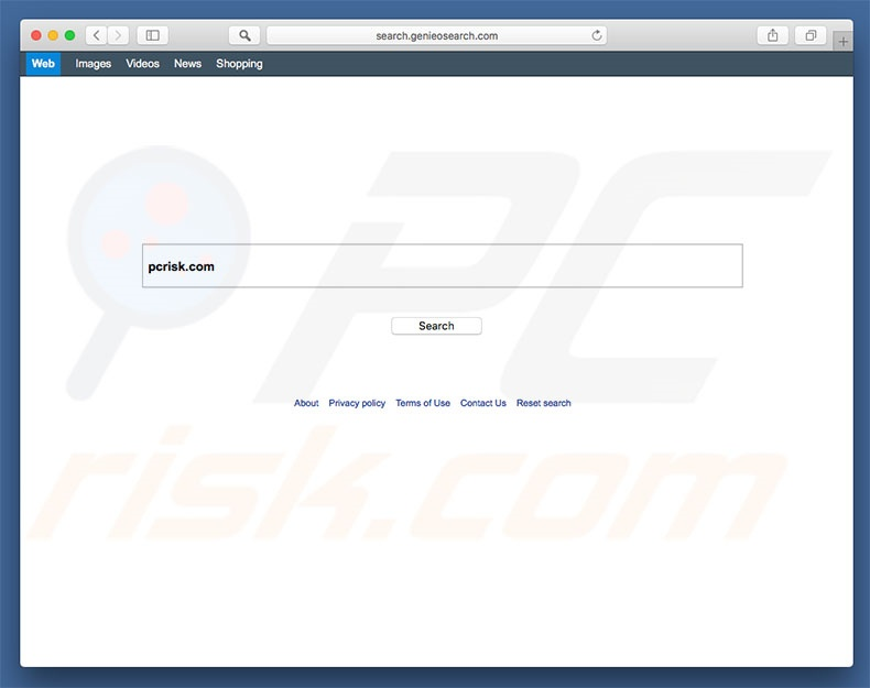search.genieosearch.com browser hijacker on a Mac computer