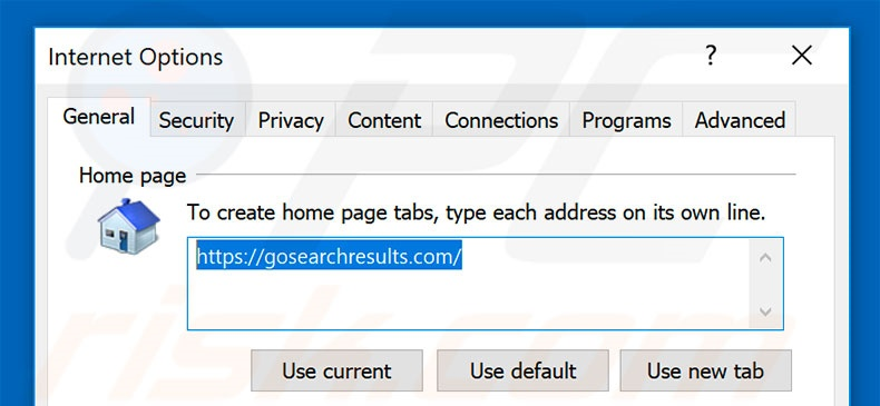 Removing gosearchresults.com from Internet Explorer homepage