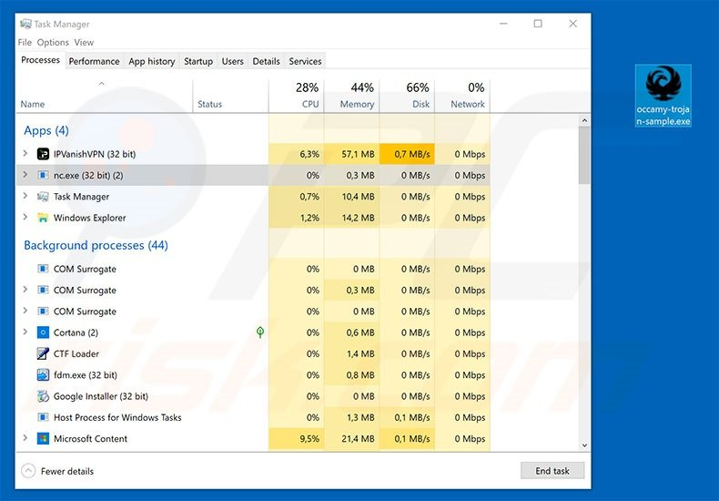 Occamy trojan in task manager