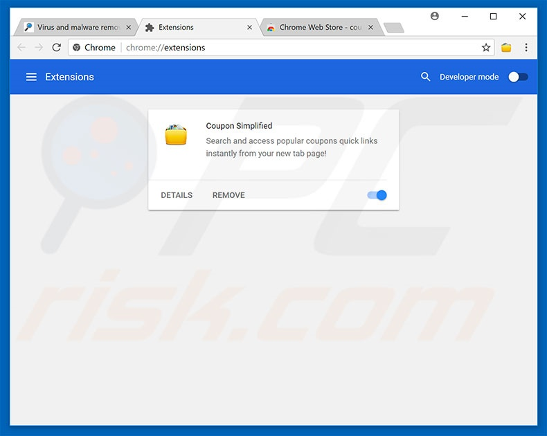 Removing Amazon Shopping Assistant ads from Google Chrome step 2