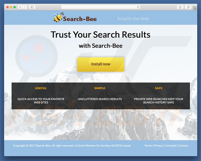 Dubious website used to promote search.search-bee.com