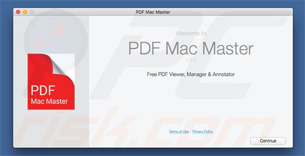 Delusive installer used to promote PDF Mac Master