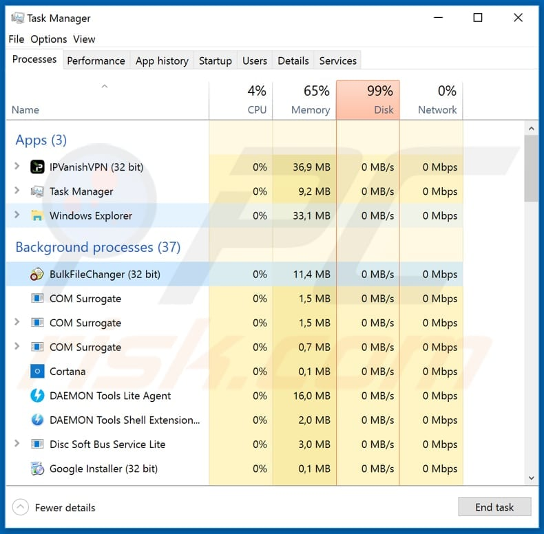 Adobe ransomware BulkFileChanger process in Task Manager