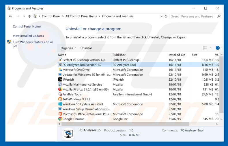 PC Analyzer Tool adware uninstall via Control Panel