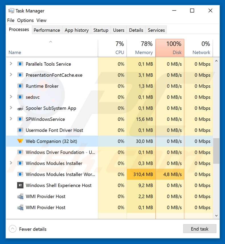 web companion process in task manager