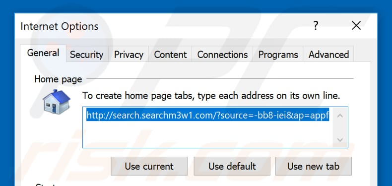 Removing search.searchm3w1.com from Internet Explorer homepage