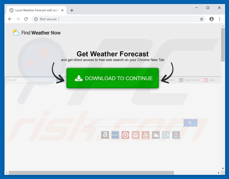 Website used to promote Find Weather Now browser hijacker
